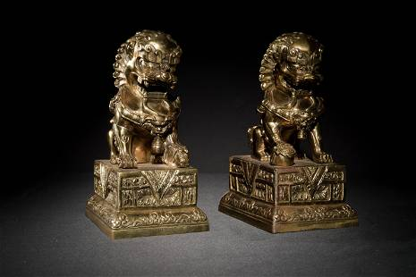 Pair of Chinese Gilt Guardian Lions, 19th Century