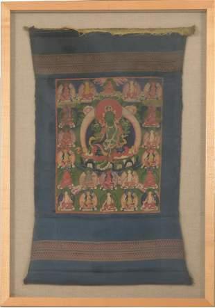 Tibetan Thangka of Twenty-One Taras, 18/19th Century