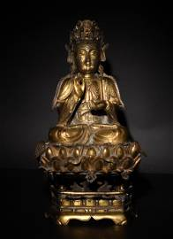 Chinese Gilt Bronze Guanyin, Ming Dynasty
