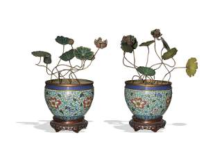 Pair of Chinese Cloisonne Planters, 18th - 19th Century