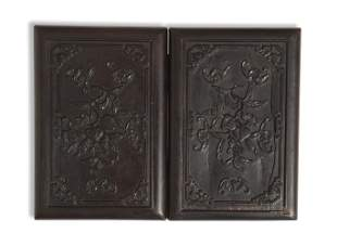 Chinese Zitan Carved Book-Form Mirror Box, 18th Century