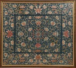 Chinese Blue Floral Tablecloth, Early 19th Century