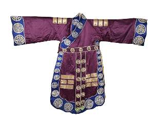 Chinese Purple Ground Daoist Robe, 19th Century