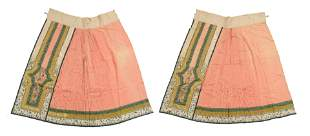 2 Chinese Silk Embroidered Skirts, 19th Century