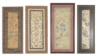 Group of 4 Chinese Silk Embroideries, 19th Century