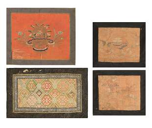Group of 4 Chinese Embroideries, 18-19th Century
