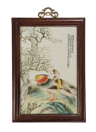 Chinese Famille Rose Porcelain Plaque with Ducks