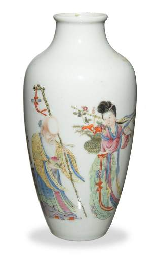 Chinese Famille Rose Vase with Shou and Magu, Republic