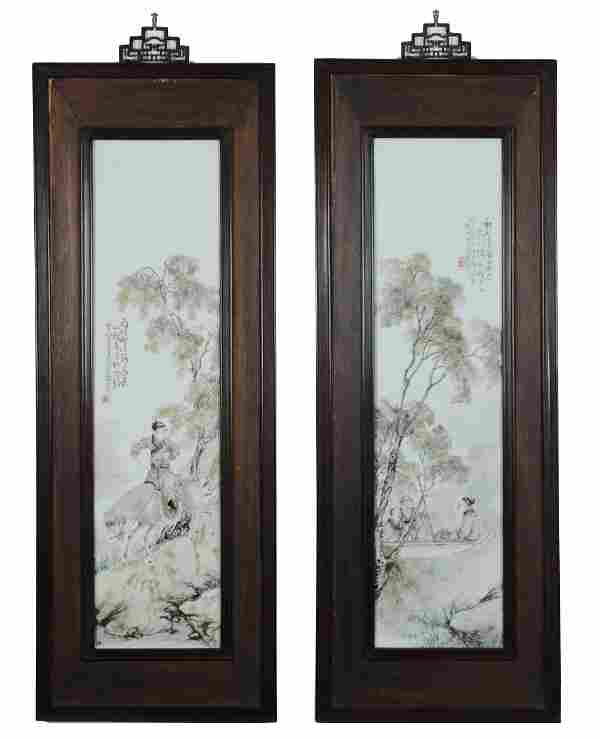 Pair of Famille Rose Porcelain Plaques by Wang Qi