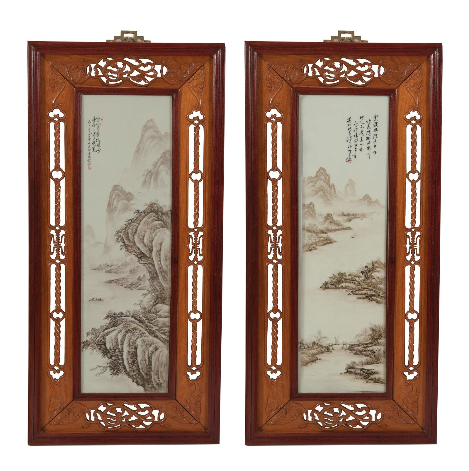 Pair of Landscape Plaques by Wang Pingsun