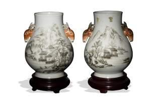 Chinese Pair of Landscape Hu Vases, Republic