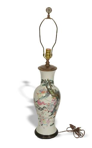 Chinese Warrior Vase made into a Lamp, Republic