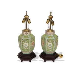 Pair of Chinese Famille Rose Lamps, Republic