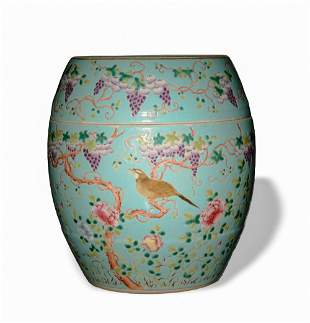 Imperial Turquoise Famille Rose Jar, Xuantong