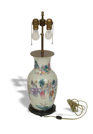 Chinese Famille Rose Vase made into Lamp, 19th Century