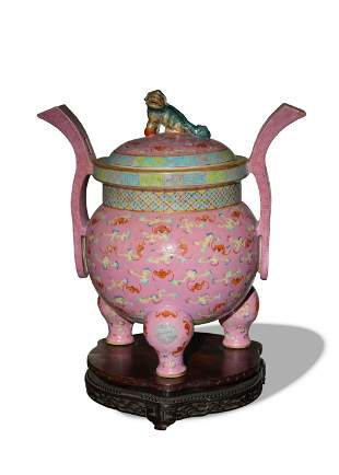 Chinese Pink Famille Rose Censer, 19th Century