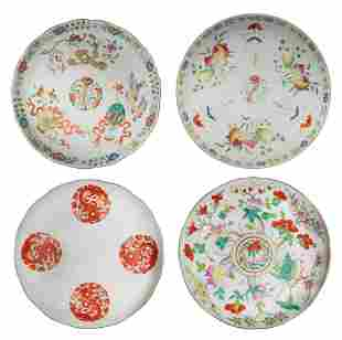 Four Chinese Famille Rose Plates, 19th Century