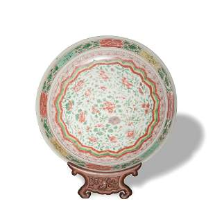 Chinese Wucai Floral Plate, 17th Century