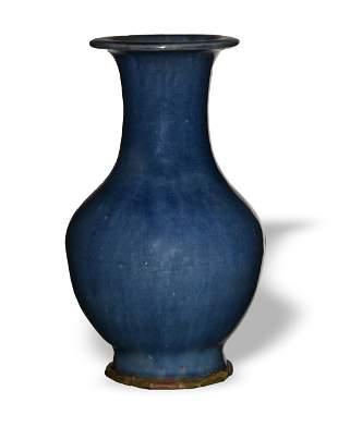 Chinese Blue Flambe Glazed Vase, 19th Century
