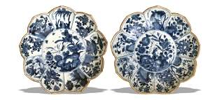 Pair of Chinese Blue and White Lobed Plates, Kangxi
