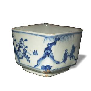 Chinese Blue and White Square Cup, 16th Century