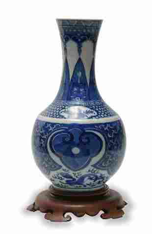 Chinese Blue and White Shang Vase, Late Qing