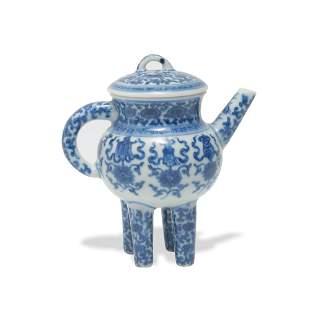 Chinese Blue and White Tripod Teapot, Republic