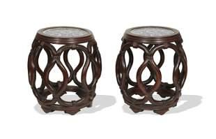 Pair of Hardwood and Porcelain Stools, Republic