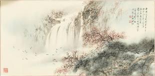 Chinese Painting of a Waterfall by Hu Nianzhu