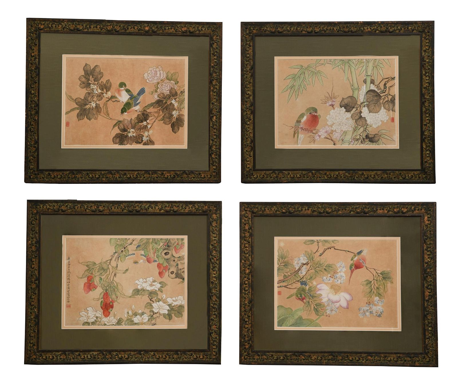 Set of 4 Chinese Paintings of Birds and Flowers