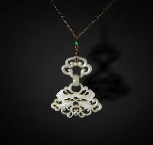 14K Necklace with an 18th Century White Jade Pendant