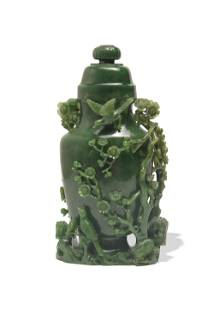 Chinese Spinach Jade Lidded Vase, 18th Century