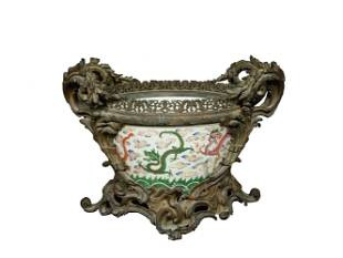 Chinese Porcelain Fish Bowl with Bronze Base, 18th
