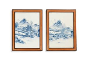 Pair of Chinese Enameled Landscape Plaques, Republic