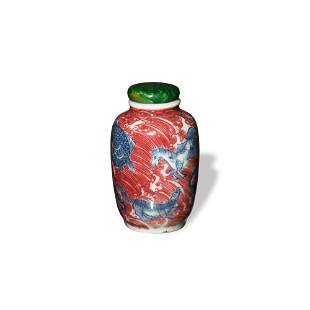 Chinese Blue and White Snuff Bottle with Red Glaze