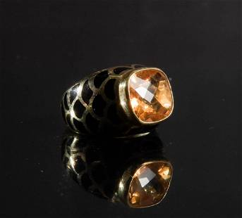 14K Gold and Enamel Ring with Yellow Citrine
