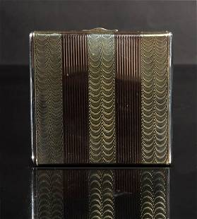 14K Gold and Sterling Art Deco Compact, Cartier