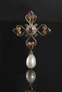 14K Gold Pendant with Diamonds and Rubies