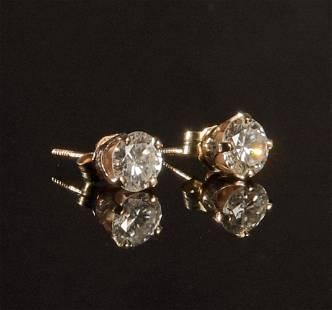 Pair 14K Gold and Diamond Earrings 1.5 CTW