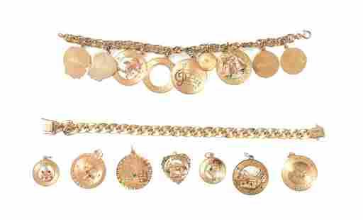 2 14K Gold Charm Bracelets with 16 14K Charms