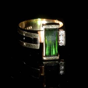14K Gold Mid-Century Modern Ring with Diamonds and