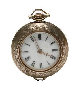 Omega Ladies Lapel Watch in 18K Gold Enamel Case