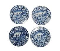 4 Blue and White Chinese Plates, Kangxi