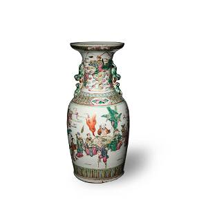 Chinese Famille Rose Vase with Figures, 19th Century