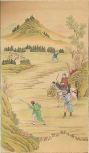 Unsigned Chinese Painting of a Hunting Scene, 19th