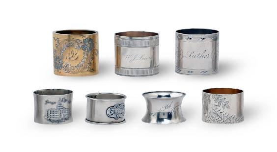7 Fancy Sterling Silver Napkin Rings