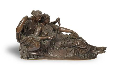 French Neoclassical Bronze of Clotho and Atropos