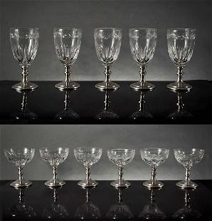 11 Hawkes Cut Glass Stemware on Sterling Bases
