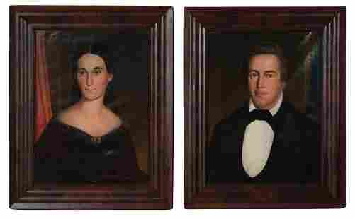 Pair of 19th Century Paintings of Man and Woman