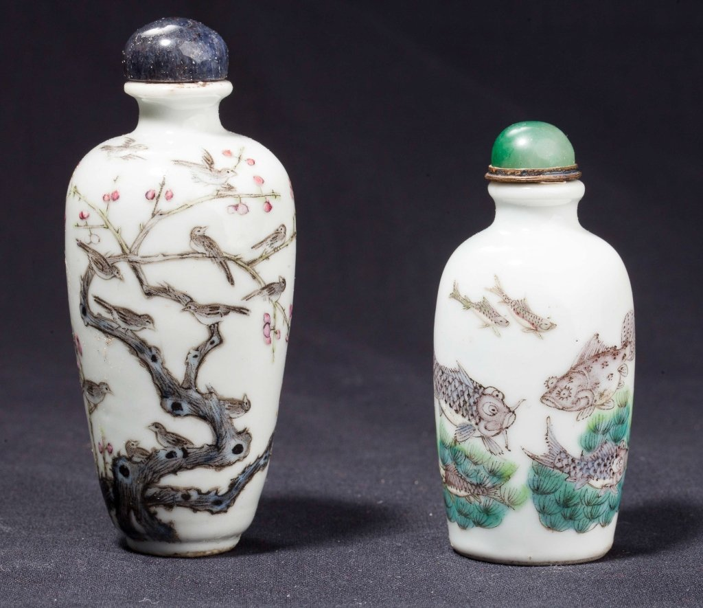 Two famille rose snuff bottles	 19th century